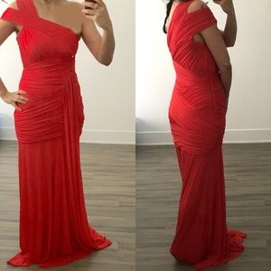 Halston Heritage cold one shoulder draped red gown